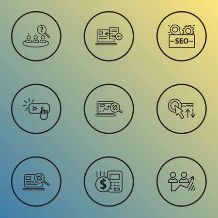 Engine icons line style set with competitor analysis, sort keywords, budget calculator and other magnifying