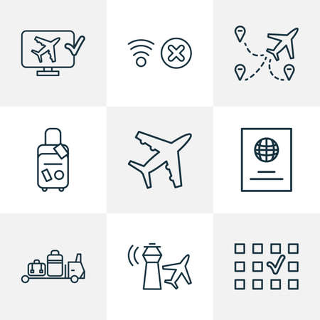 Traveling icons line style set with plane, no network, control tower and other place choice