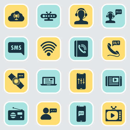 Connection icons set with article on tv, sms notification, fm and other helpline