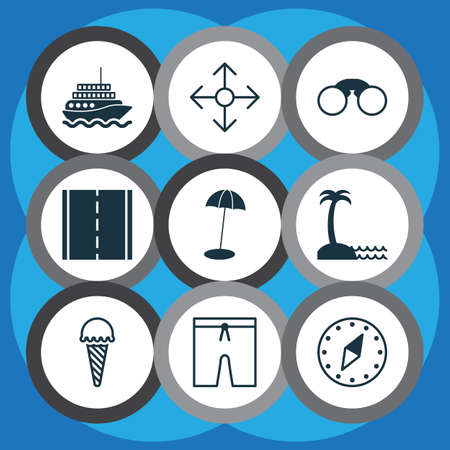 Travel icons set with seaside place, field glasses, motor ship and other direction arrows 
