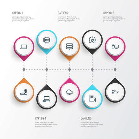 Hardware icons line style set with online cloud, router, notebook and other floppy   elements. Isolated vector illustration hardware icons.