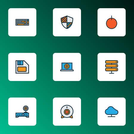 Hardware icons colored line set with web cam, computer keyboard, wifi modem and other keypad  elements. Isolated vector illustration hardware icons. Ilustração