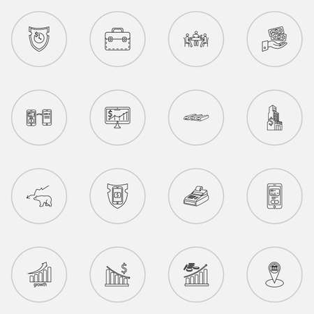 Economy icons line style set with secure payment, money decrease, bank location and other treasure