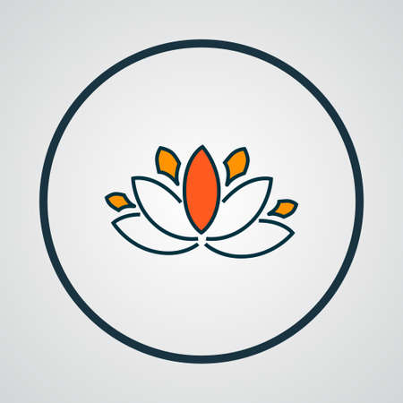 Lotus flower icon colored line symbol. Premium quality isolated floral element in trendy style. Foto de archivo - 121545764