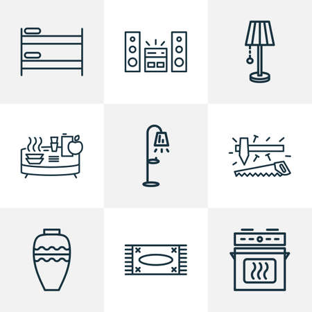 House icons line style set with lamp, vase, double decker bed and other stove