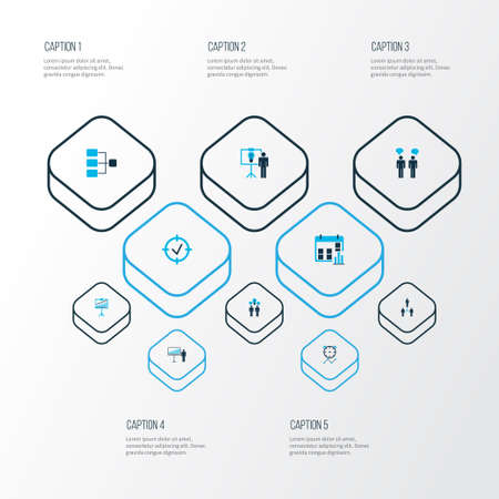 Executive icons colored set with team building, presentation of the idea, presentation of statistics and other schedule   elements. Isolated vector illustration executive icons.