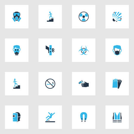Sign icons colored set with no smoking, slippery area, hand protection welder  elements. Isolated vector illustration sign icons.