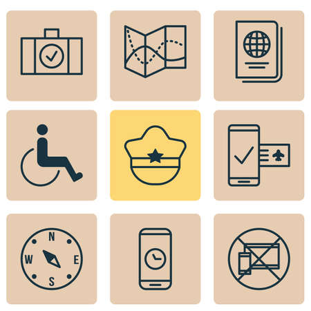 Travel icons set with passport, cop cap, phone time and other identification document   elements. Isolated vector illustration travel icons.  イラスト・ベクター素材