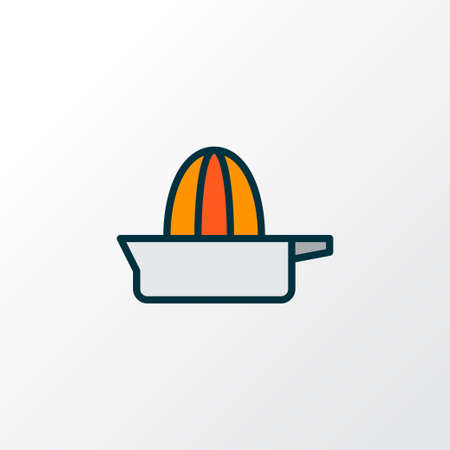 Orange squeezer icon colored line symbol. Premium quality isolated juicer element in trendy style. Illustration