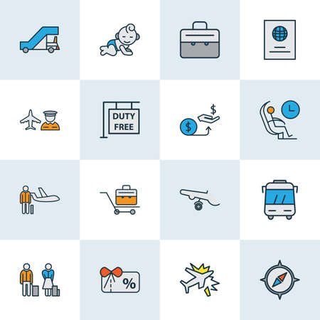 Transportation icons colored line set with briefcase, gangway, personal plane and other pilot