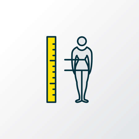 Body measurement icon colored line symbol. Premium quality isolated figure element in trendy style. Illustration