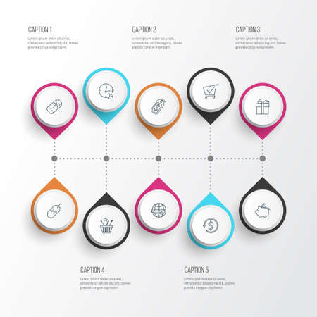 Commerce icons line style set with gift, savings, money back and other international delivery elements. Isolated vector illustration commerce icons.