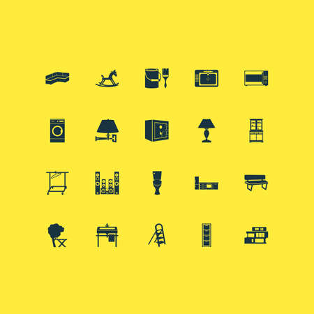 Housing icons set with stepladder, bench, rocking horse and other settee