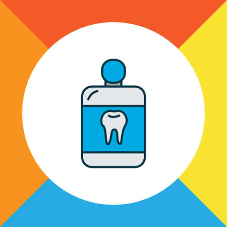 Mouthwash icon colored line symbol. Premium quality isolated cleanser element in trendy style. Illustration