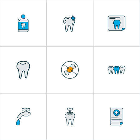 Enamel icons colored line set with tooth, dental fillings, mouthwash and other cleaned