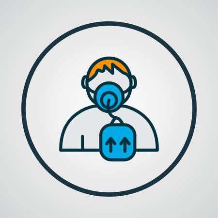 Símbolo de línea de color de icono de máscara de oxígeno. Elemento respiratorio aislado de primera calidad en estilo moderno.