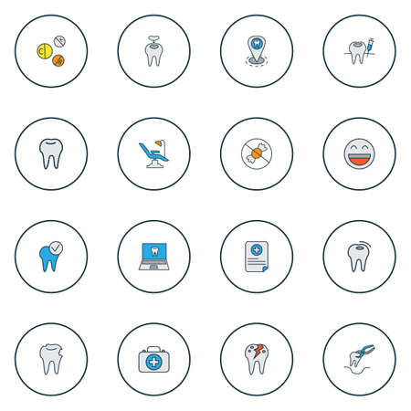 Enamel icons colored line set with dental fillings, vitamins, no sweet and other caries  elements. Isolated vector illustration enamel icons. 向量圖像