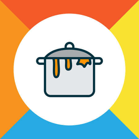 Dirty pot icon colored line symbol. Premium quality isolated casserole element in trendy style.