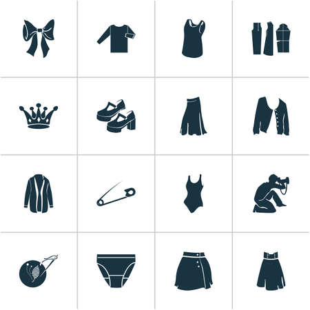 Fashionable icons set with sleeveless shirt, embroideries, platform shoes and other decoration  elements. Isolated vector illustration fashionable icons.