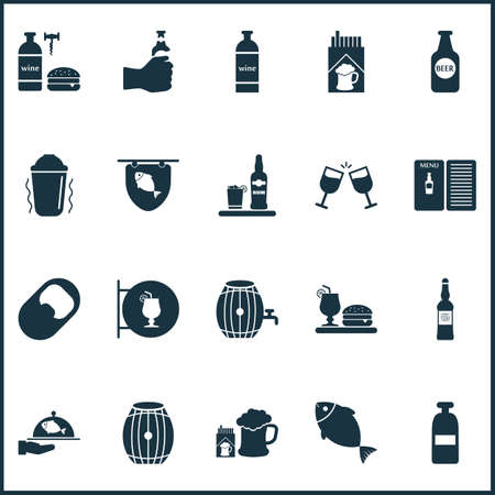 Alcohol icons set with brewery, opener, beer bottle and other alcoholic