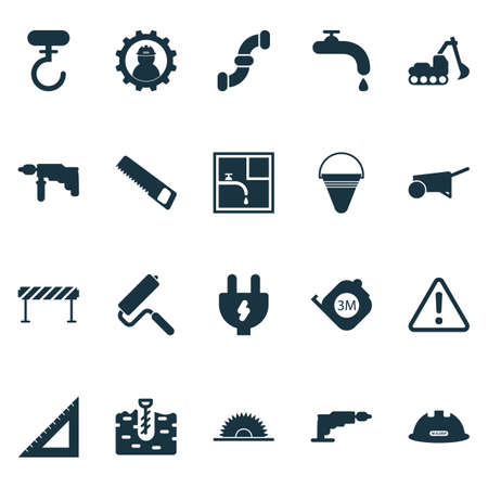Industry icons set with excavator, barrage, cushion builder and other electric driver elements. Isolated vector illustration industry icons.