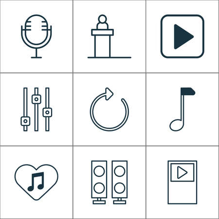 Multimedia icons set with refresh, scene, amplifier and other clef