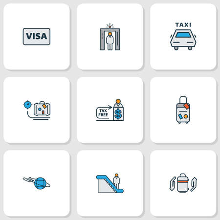 Transportation icons colored line set with plane around the world, visa, airport security and other metal detector