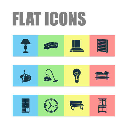 Housing icons set with louvers, wall clock, lamp and other extractor elements. Isolated illustration housing icons.