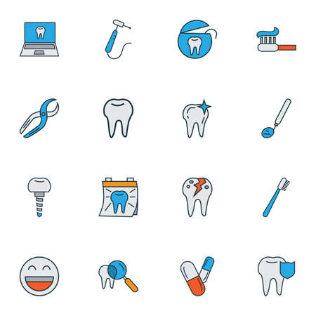 Enamel icons colored line set with inspect tooth, pills, dentist day and other hygiene  elements. Isolated vector illustration enamel icons.