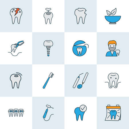 Enamel icons colored line set with dental fillings, doctor, tooth floss and other implantation elements. Isolated vector illustration enamel icons.