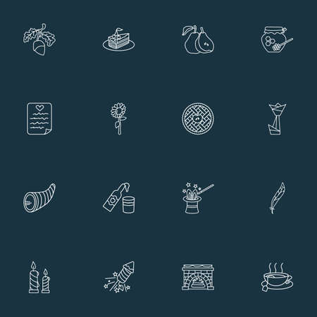 Festival icons line style set with fireplace, hot tea, origami and other beverage