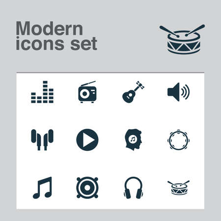 Audio icons set with note, headphone, mixer and other timbrel   elements. Isolated  illustration audio icons. Stock Photo