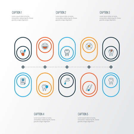 Enamel icons colored line set with hole in tooth, carries defense, pills and other file  elements. Isolated vector illustration enamel icons.