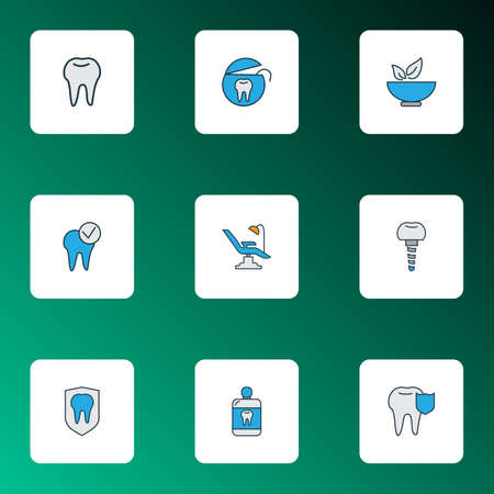 Enamel icons colored line set with mouthwash, healthy food, dentist and other dental rope