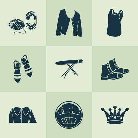 Fashion design icons set with puritan collar, ironing board, skein of yarn and other wool