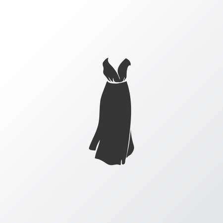 Evening wear icon symbol. Premium quality isolated maxi dress element in trendy style.