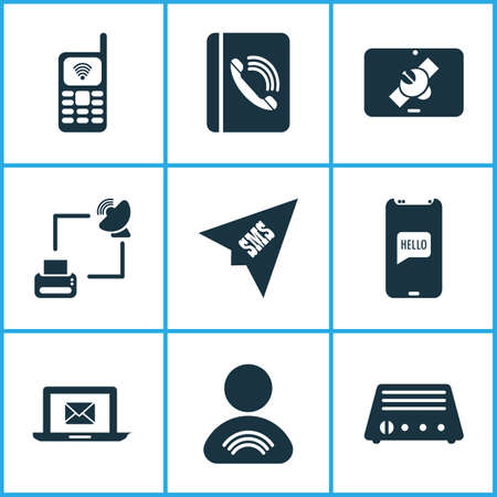 Connection icons set with user relationship, contact, radio and other address copybook elements. Isolated illustration connection icons.