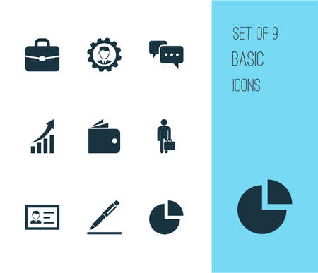 Job icons set with conversation, growing chart, manager and other work man  elements. Isolated  illustration job icons. Banque d'images