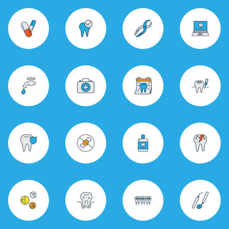 Dental icons colored line set with anesthesia, pills, dentist day and other dentition  elements. Isolated vector illustration dental icons.