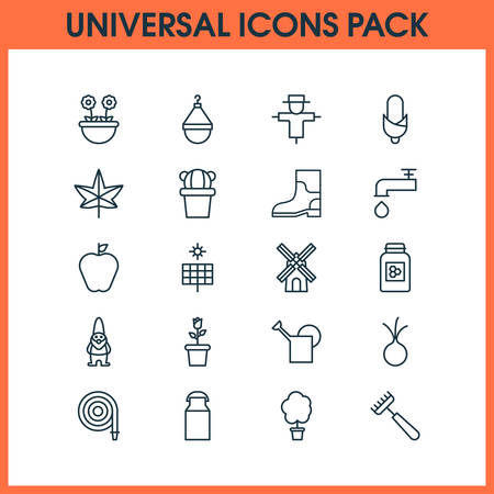 Farm icons set with apple, honey, hose and other bugbear  elements. Isolated vector illustration farm icons. Illustration