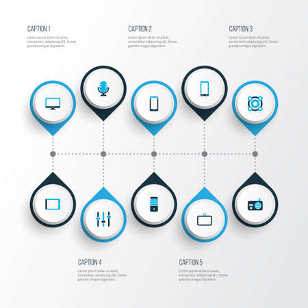 Device icons colored set with tablet, monitor, microphone and other processor   elements. Isolated  illustration device icons.