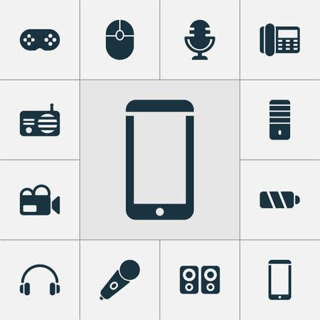 Electronics icons set with PC, telephone, mic and other mobile phone elements. Isolated illustration electronics icons. Stock Photo