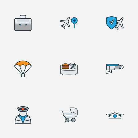 Travel icons colored line set with parachute, pilot, travel insurance and other captain elements. Isolated illustration travel icons. Banque d'images