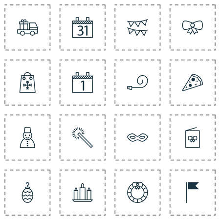 New icons set with holiday shopping, door decoration, calendar month and other flag point