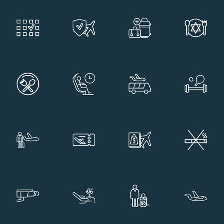 Traveling icons line style set with airport shuttle, video control, man with travel bag and other passenger