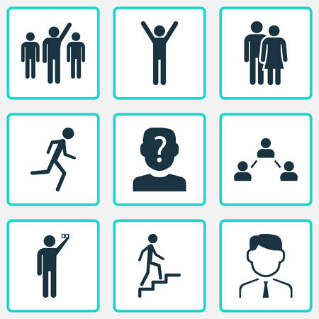 Person icons set with anonymous, social relations, jogging and other unknown elements. Isolated vector illustration person icons. Vektoros illusztráció