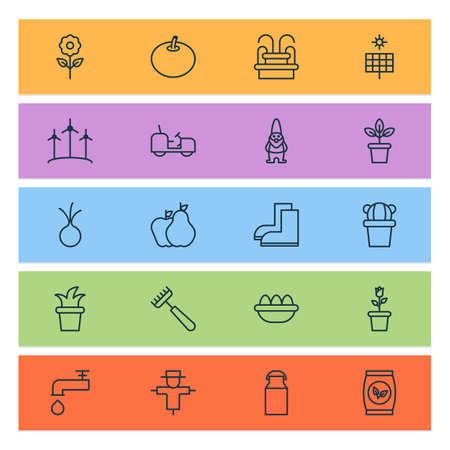 Farm icons set with flowerpot, onion, fountain and other agrimotor elements. Isolated illustration farm icons.