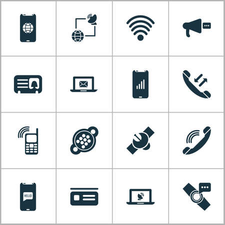 Telecommunication icons set with communications, smart watch notification, female card and other handset elements. Isolated illustration telecommunication icons.