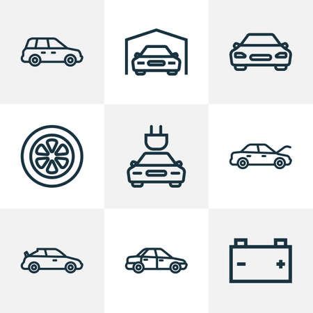 Automobile icons line style set with hood, battery, tie and other wheel 