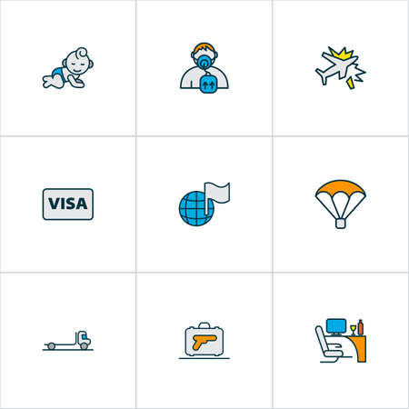 Traveling icons colored line set with business class, flatbed truck, globe with flag and other weapon